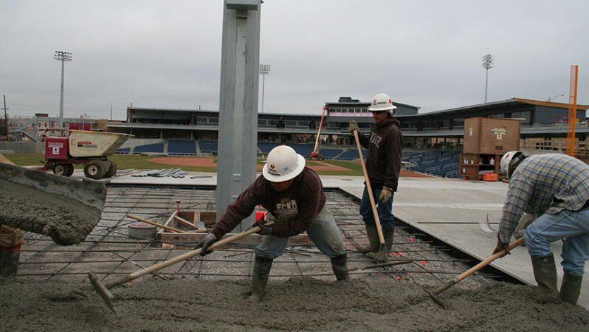 ONEOK Field Concourse concrete pour