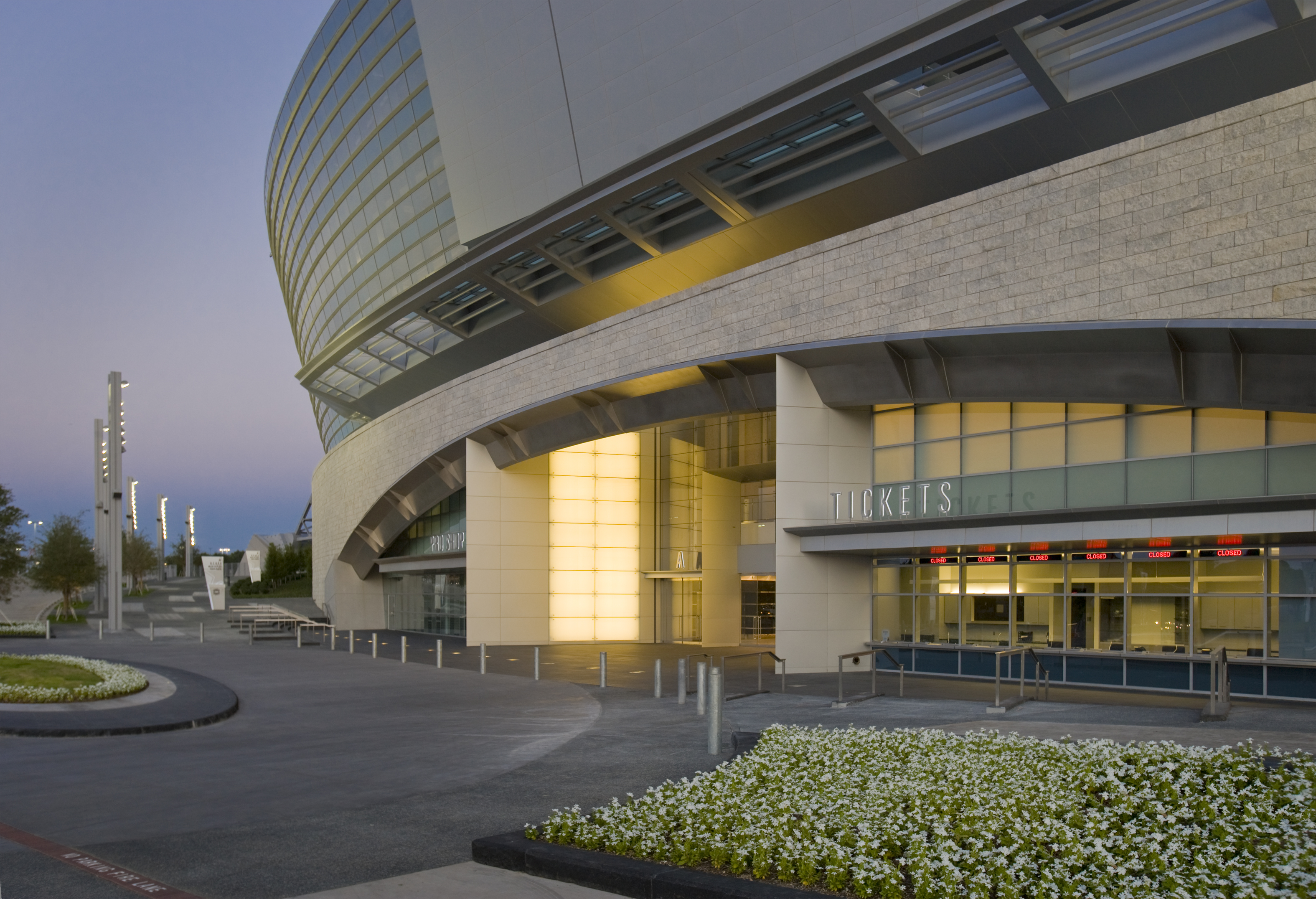 Cowboys Stadium side entrance at dusk