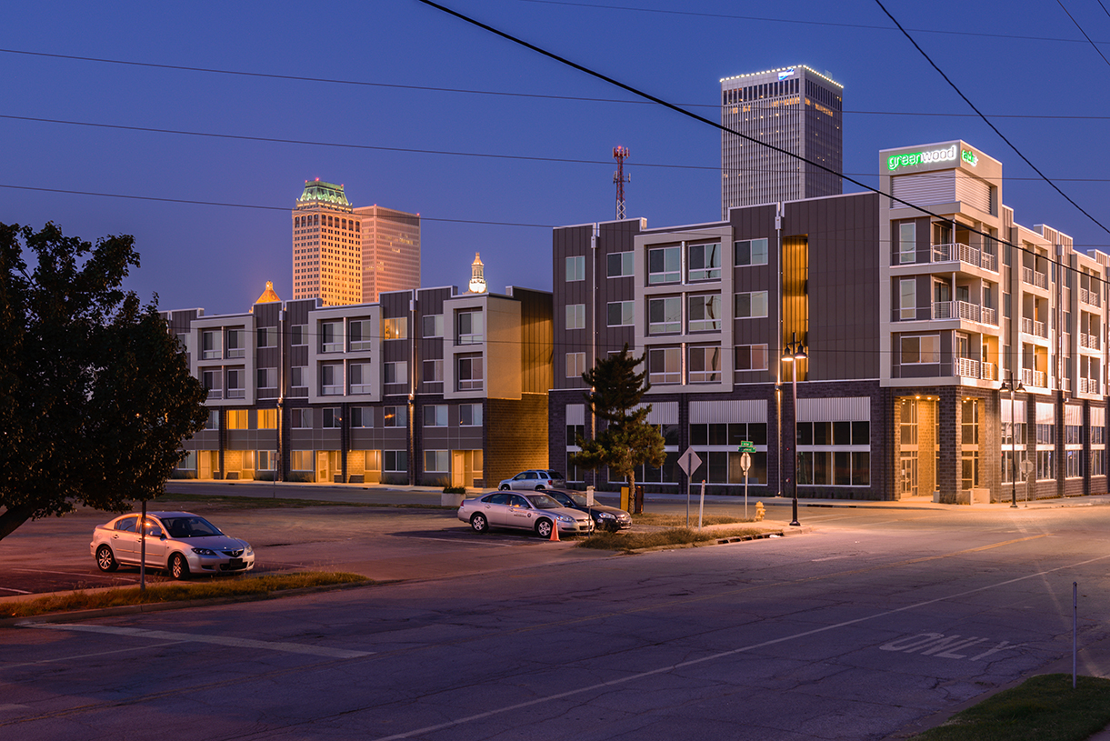 GreenArch Apartments Exterior Night Photo