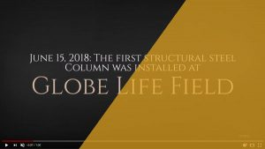First structural steel column installed at Globe Life Field