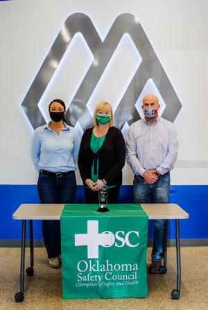Pictured left to right: Trista Shomo, Sr. Safety Manager at Manhattan Construction Company, Betsey Kulakowski, Executive Director at Oklahoma Safety Council, David Evans, Sr. Safety Manager at Manhattan Construction Company