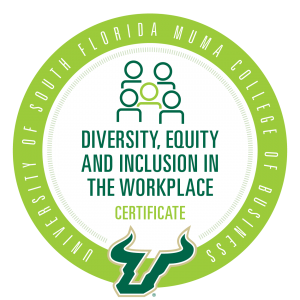 Diversity, Equity and Inclusion credential badge for Muma College of Business at the University of South Florida (USF)